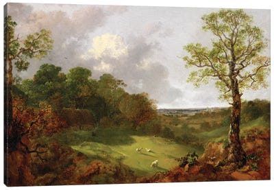 Wooded Landscape with a Cottage, Sheep and a Reclining Shepherd, c.1748-50  Canvas Art Print