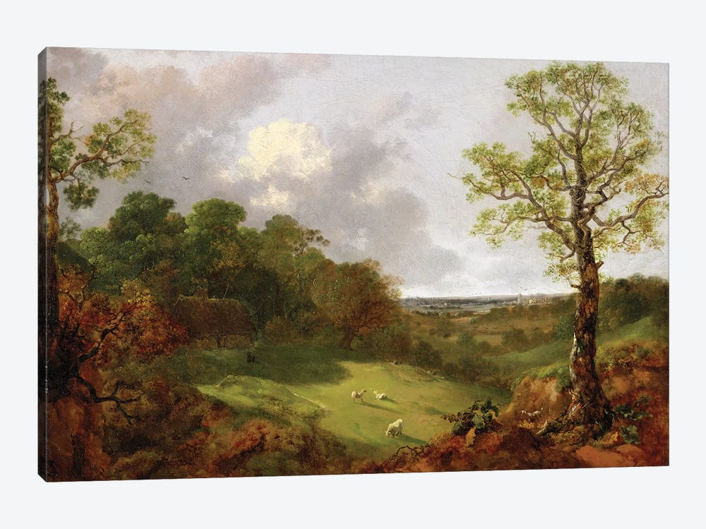 Wooded Landscape with a Cottage, Sheep and a Reclining Shepherd, c.1748-50  by Thomas Gainsborough 1-piece Canvas Artwork