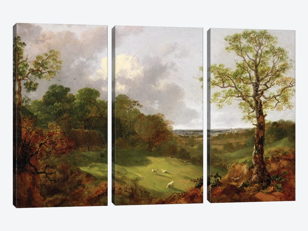 Wooded Landscape with a Cottage, Sheep and a Reclining Shepherd, c.1748-50  by Thomas Gainsborough 3-piece Canvas Art