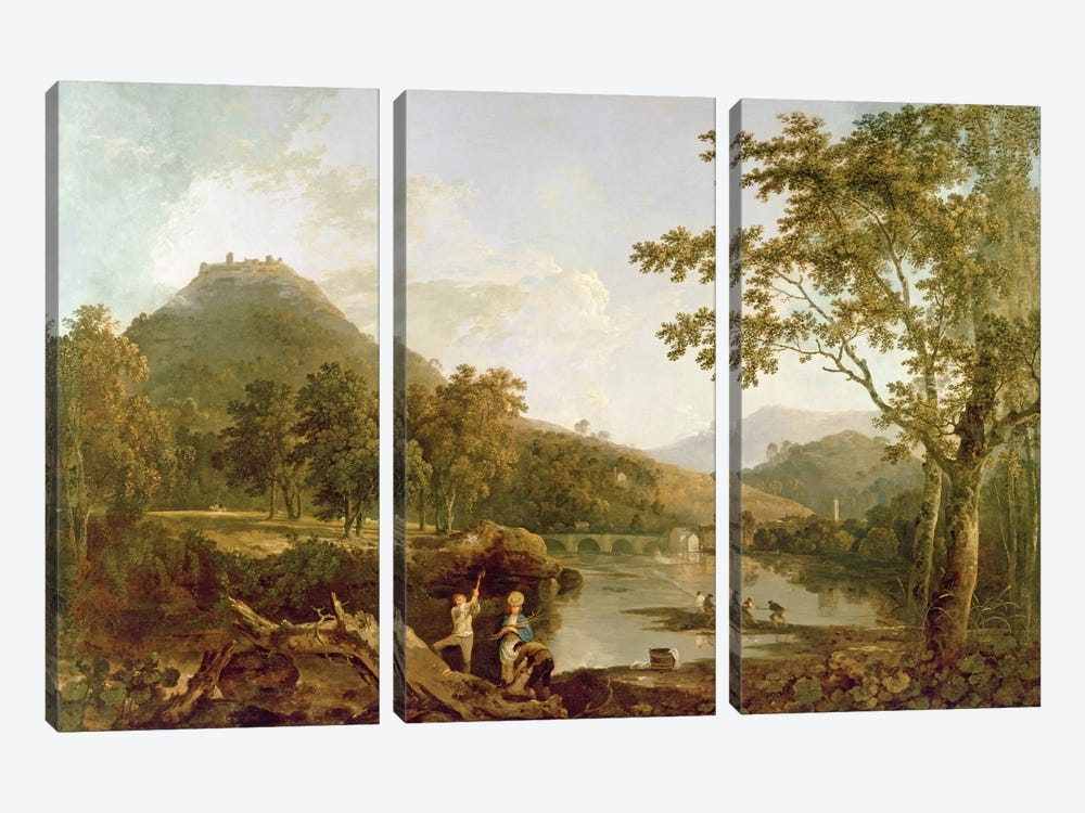Dinas Bran from Llangollen, 1770-71  by Richard Wilson 3-piece Canvas Art Print