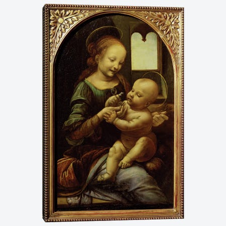 Madonna with a Flower, or Madonna Benois, c.1478  Canvas Print #BMN160} by Leonardo da Vinci Canvas Art Print