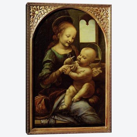 Madonna with a Flower, or Madonna Benois, c.1478  Canvas Print #BMN160} by Leonardo da Vinci Canvas Art Print