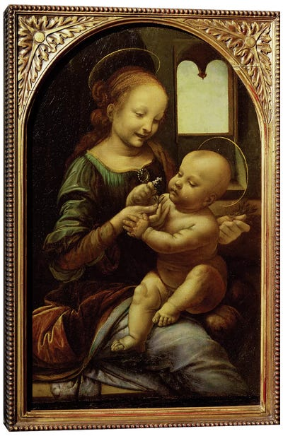 Madonna with a Flower, or Madonna Benois, c.1478  Canvas Art Print