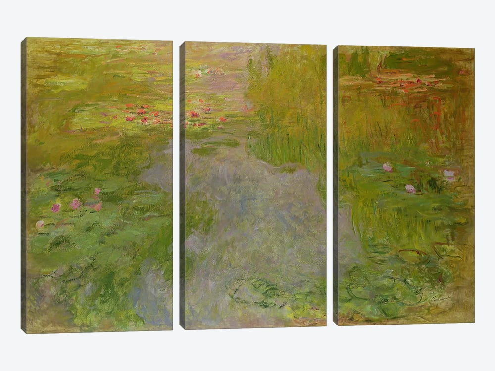 Waterlilies, c.1919 by Claude Monet 3-piece Canvas Art Print