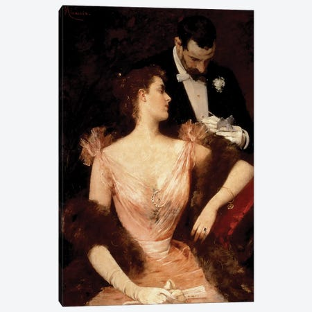 Invitation to the Waltz, 1895  Canvas Print #BMN1612} by Francesco Miralles Galaup Canvas Print