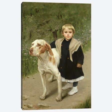 Young Child and a Big Dog  Canvas Print #BMN1613} by Luigi Toro Canvas Print