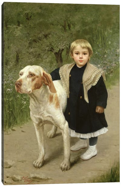 Young Child and a Big Dog  Canvas Art Print