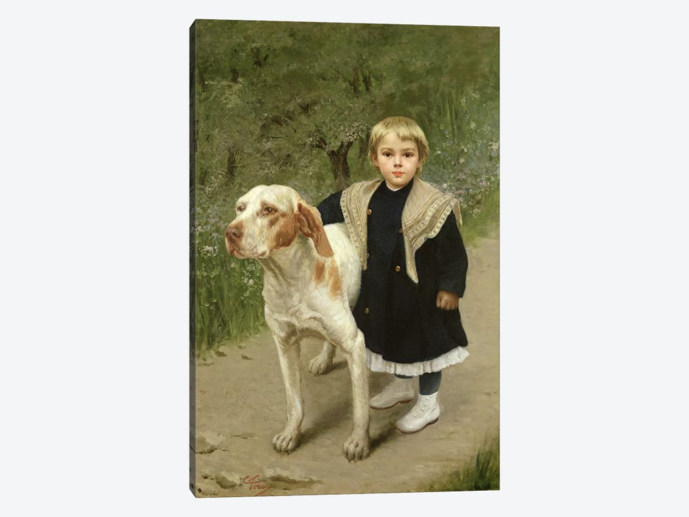 Young Child and a Big Dog by Luigi Toro 1-piece Art Print