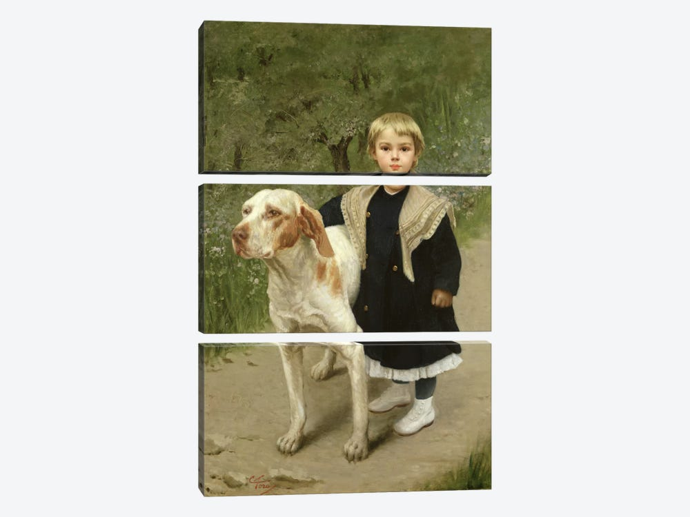 Young Child and a Big Dog by Luigi Toro 3-piece Art Print