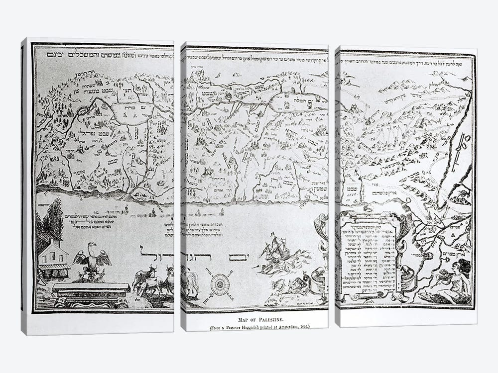 Map of Palestine, from a Passover Haggadah, printed in 1695  by Dutch School 3-piece Canvas Art