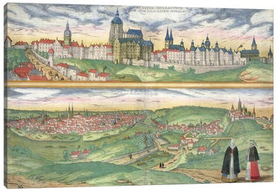 Map of Prague, from 'Civitates Orbis Terrarum' by Georg Braun Canvas Art Print