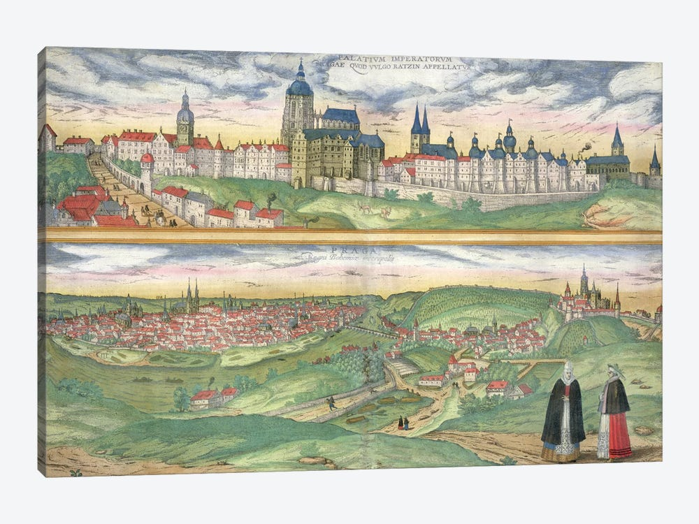 Map of Prague, from 'Civitates Orbis Terrarum' by Georg Braun  by Joris Hoefnagel 1-piece Canvas Print