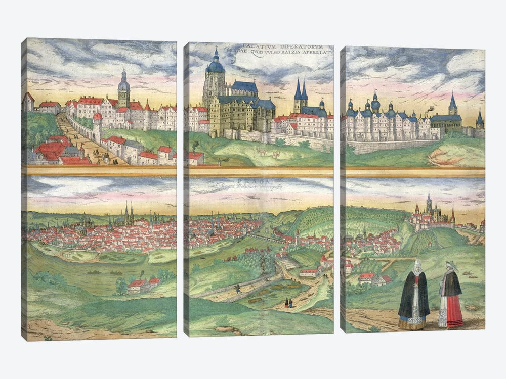 Map of Prague, from 'Civitates Orbis Terrarum' by Georg Braun  by Joris Hoefnagel 3-piece Canvas Art Print