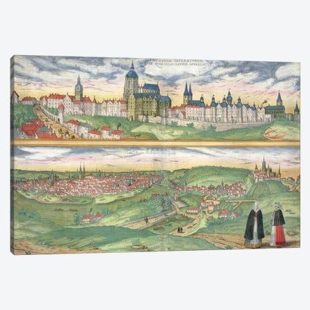 Map of Prague, from 'Civitates Orbis Terrarum' by Georg Braun  Canvas Print #BMN1622} by Joris Hoefnagel Canvas Artwork