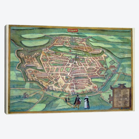 Map of Metz, from 'Civitates Orbis Terrarum' by Georg Braun  Canvas Print #BMN1628} by Joris Hoefnagel Canvas Art