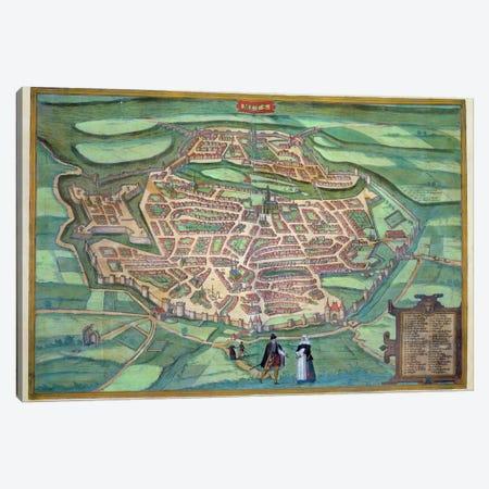 Map of Metz, from 'Civitates Orbis Terrarum' by Georg Braun  Canvas Print #BMN1628} by Joris Hoefnagel Canvas Art