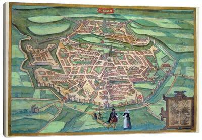 Map of Metz, from 'Civitates Orbis Terrarum' by Georg Braun  Canvas Art Print
