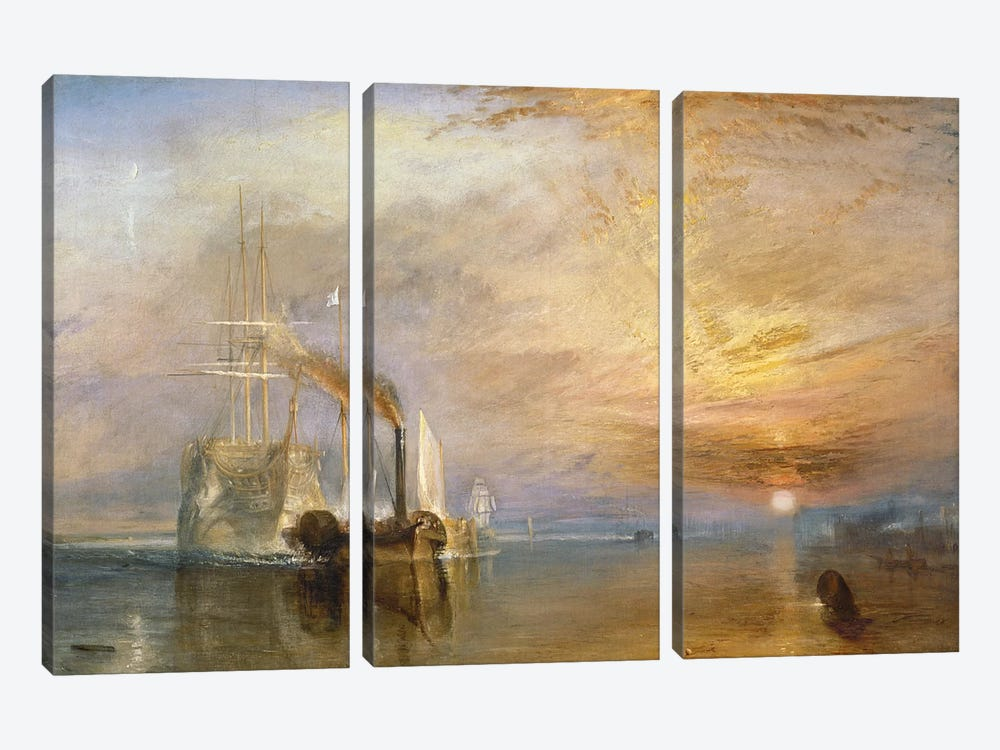 The Fighting Temeraire, 1839  by J.M.W. Turner 3-piece Canvas Art