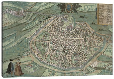 Map of Avignon, from 'Civitates Orbis Terrarum' by Georg Braun Canvas Art Print