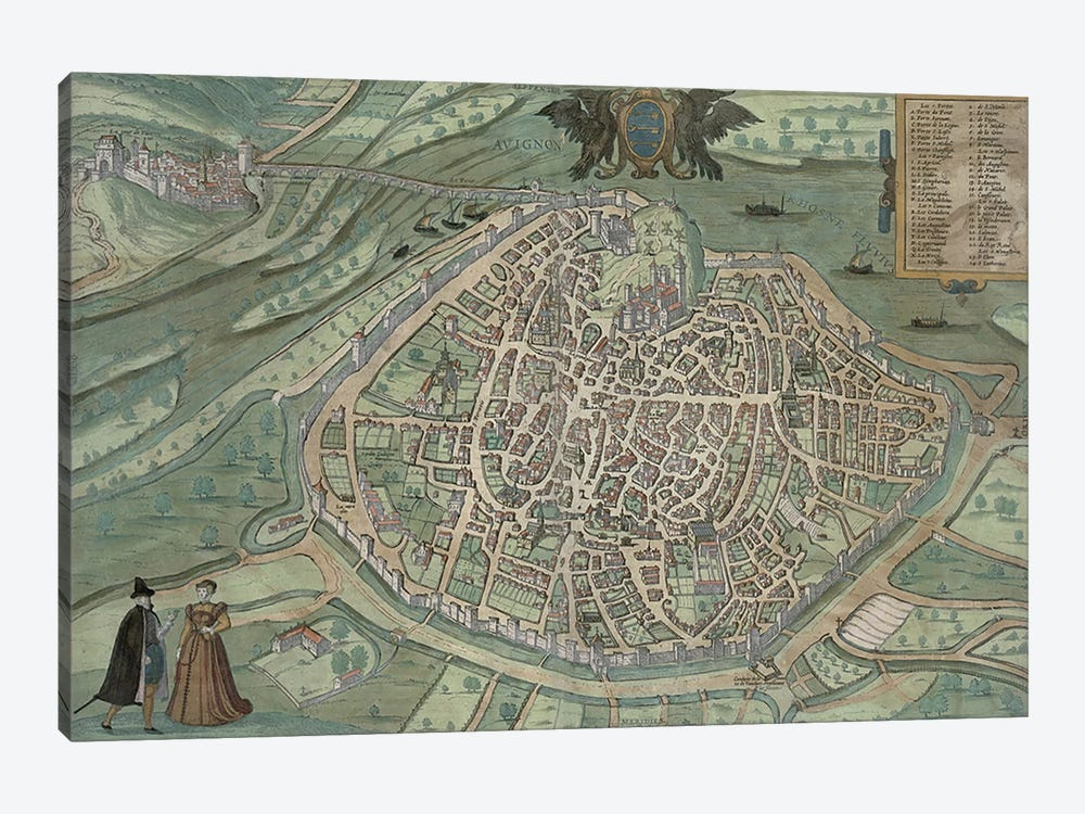 Map of Avignon, from 'Civitates Orbis Terrarum' by Georg Braun by Joris Hoefnagel 1-piece Canvas Art Print