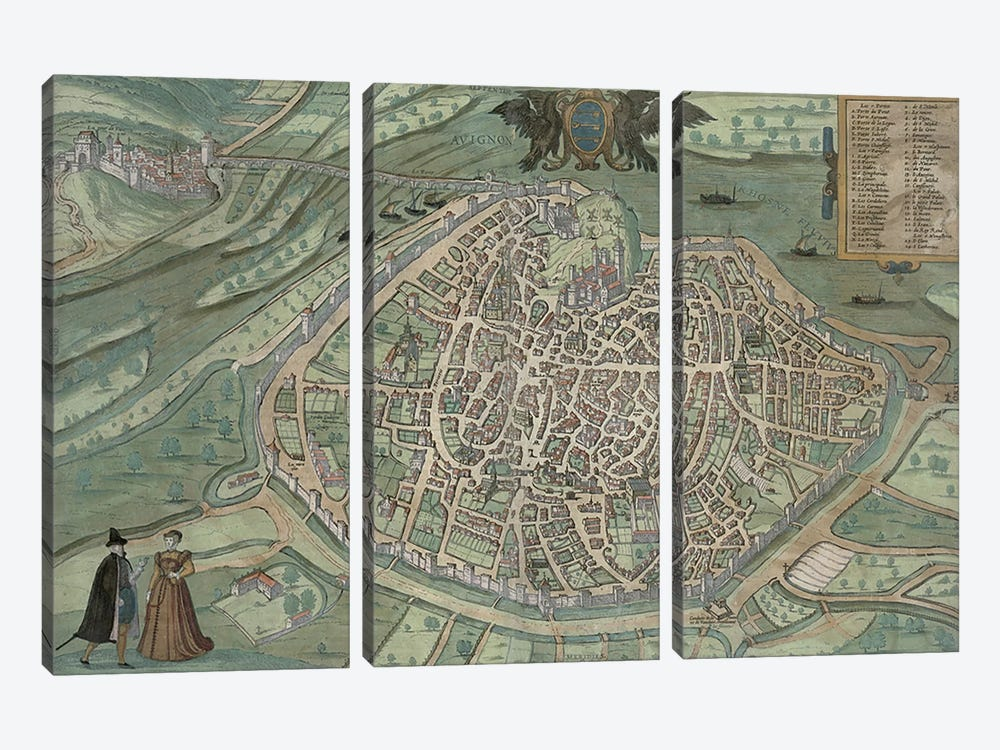 Map of Avignon, from 'Civitates Orbis Terrarum' by Georg Braun  by Joris Hoefnagel 3-piece Art Print