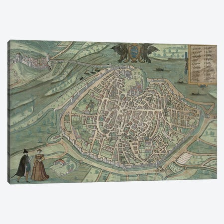 Map of Avignon, from 'Civitates Orbis Terrarum' by Georg Braun  Canvas Print #BMN1631} by Joris Hoefnagel Canvas Print