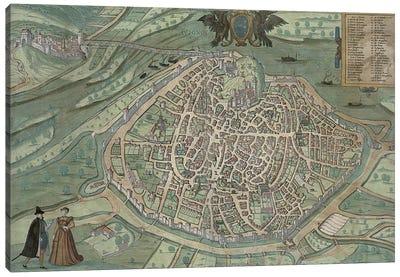 Map of Avignon, from 'Civitates Orbis Terrarum' by Georg Braun  Canvas Art Print