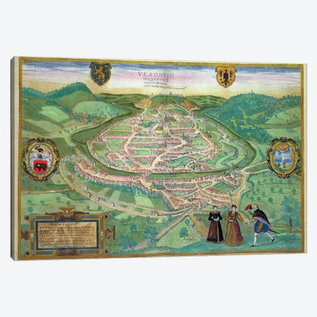 Map of Besancon, from 'Civitates Orbis Terrarum' by Georg Braun  Canvas Print #BMN1632} by Joris Hoefnagel Canvas Art Print
