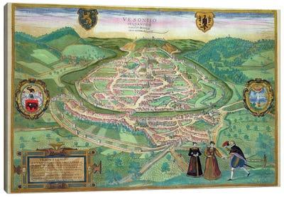 Map of Besancon, from 'Civitates Orbis Terrarum' by Georg Braun  Canvas Art Print