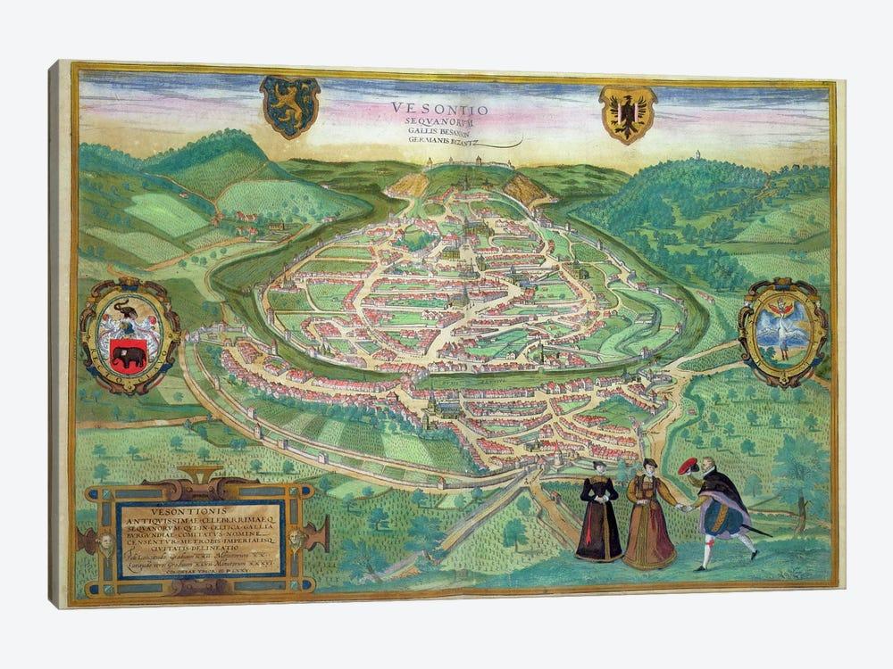 Map of Besancon, from 'Civitates Orbis Terrarum' by Georg Braun  by Joris Hoefnagel 1-piece Canvas Art