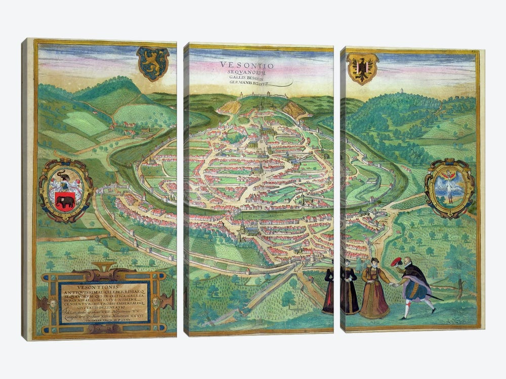 Map of Besancon, from 'Civitates Orbis Terrarum' by Georg Braun  by Joris Hoefnagel 3-piece Canvas Artwork
