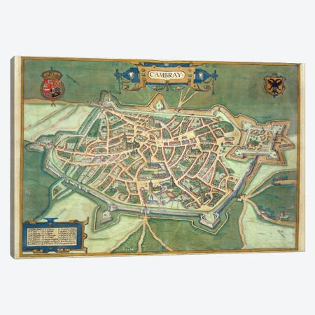 Map of Cambrai, from 'Civitates Orbis Terrarum' by Georg Braun  Canvas Print #BMN1634} by Joris Hoefnagel Canvas Artwork