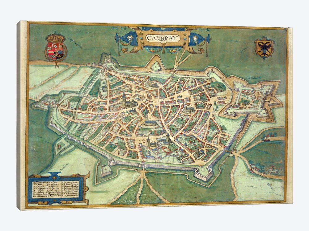 Map of Cambrai, from 'Civitates Orbis Terrarum' by Georg Braun by Joris Hoefnagel 1-piece Canvas Art