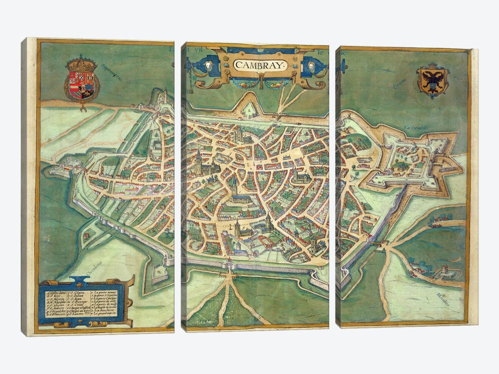 Map of Cambrai, from 'Civitates Orbis Terrarum' by Georg Braun by Joris Hoefnagel 3-piece Canvas Wall Art
