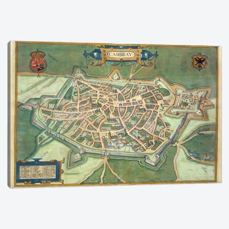 Map of Cambrai, from 'Civitates Orbis Terrarum' by Georg Braun  Canvas Print #BMN1634} by Joris Hoefnagel Canvas Artwork