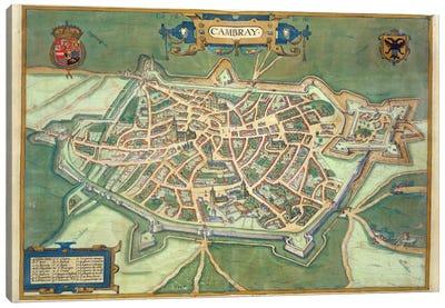 Map of Cambrai, from 'Civitates Orbis Terrarum' by Georg Braun  Canvas Art Print