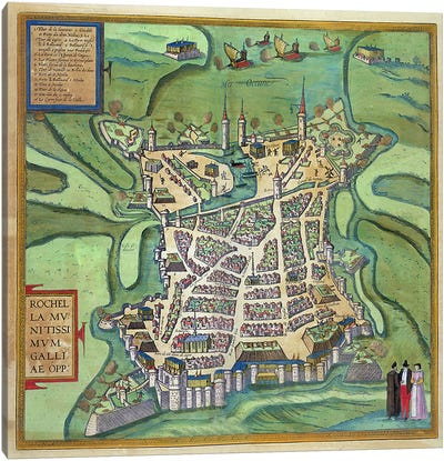 Map of La Rochelle, from 'Civitates Orbis Terrarum' by Georg Braun Canvas Art Print