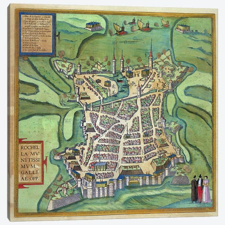 Map of La Rochelle, from 'Civitates Orbis Terrarum' by Georg Braun  Canvas Print #BMN1635} by Joris Hoefnagel Canvas Art
