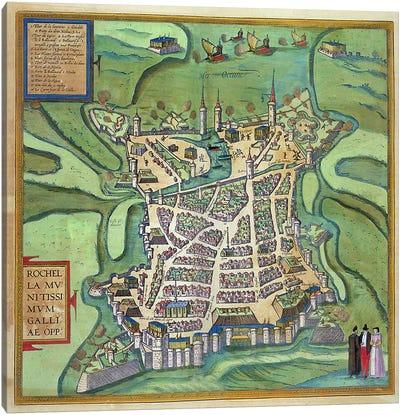 Map of La Rochelle, from 'Civitates Orbis Terrarum' by Georg Braun  Canvas Art Print
