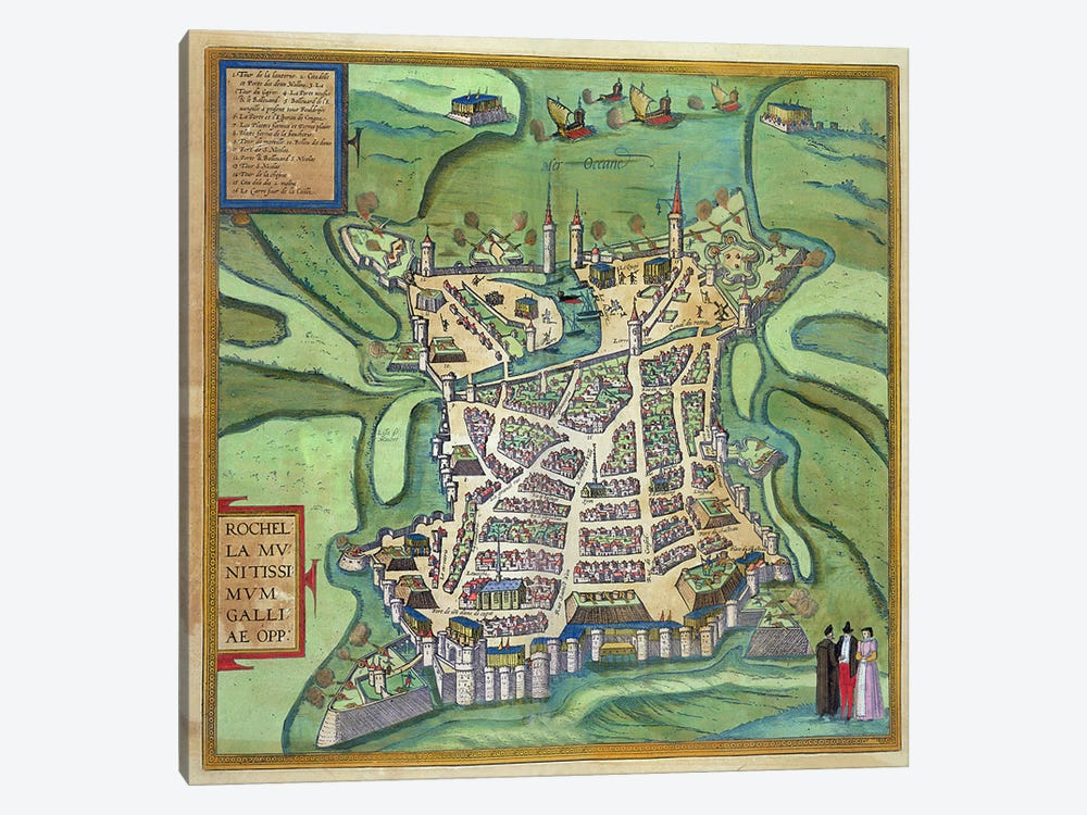 Map of La Rochelle, from 'Civitates Orbis Terrarum' by Georg Braun  by Joris Hoefnagel 1-piece Canvas Art Print