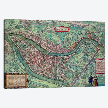 Map of Lyon, from 'Civitates Orbis Terrarum' by Georg Braun  Canvas Print #BMN1636} by Joris Hoefnagel Canvas Artwork