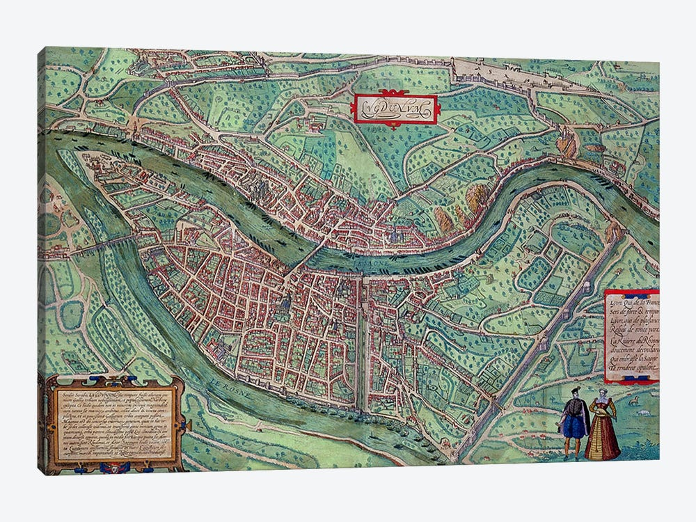 Map of Lyon, from 'Civitates Orbis Terrarum' by Georg Braun  1-piece Canvas Wall Art