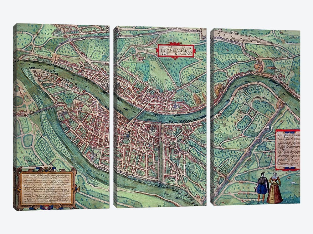 Map of Lyon, from 'Civitates Orbis Terrarum' by Georg Braun  by Joris Hoefnagel 3-piece Canvas Art