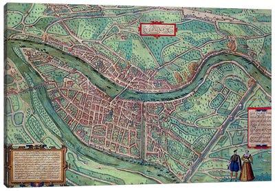 Map of Lyon, from 'Civitates Orbis Terrarum' by Georg Braun  Canvas Art Print