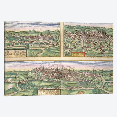 Map of Montpellier, Tours, and Poitiers, from 'Civitates Orbis Terrarum' by Georg Braun  Canvas Print #BMN1639} by Joris Hoefnagel Art Print