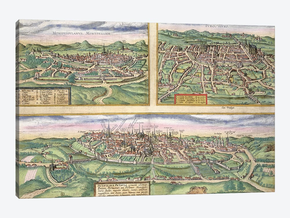 Map of Montpellier, Tours, and Poitiers, from 'Civitates Orbis Terrarum' by Georg Braun by Joris Hoefnagel 1-piece Canvas Art Print