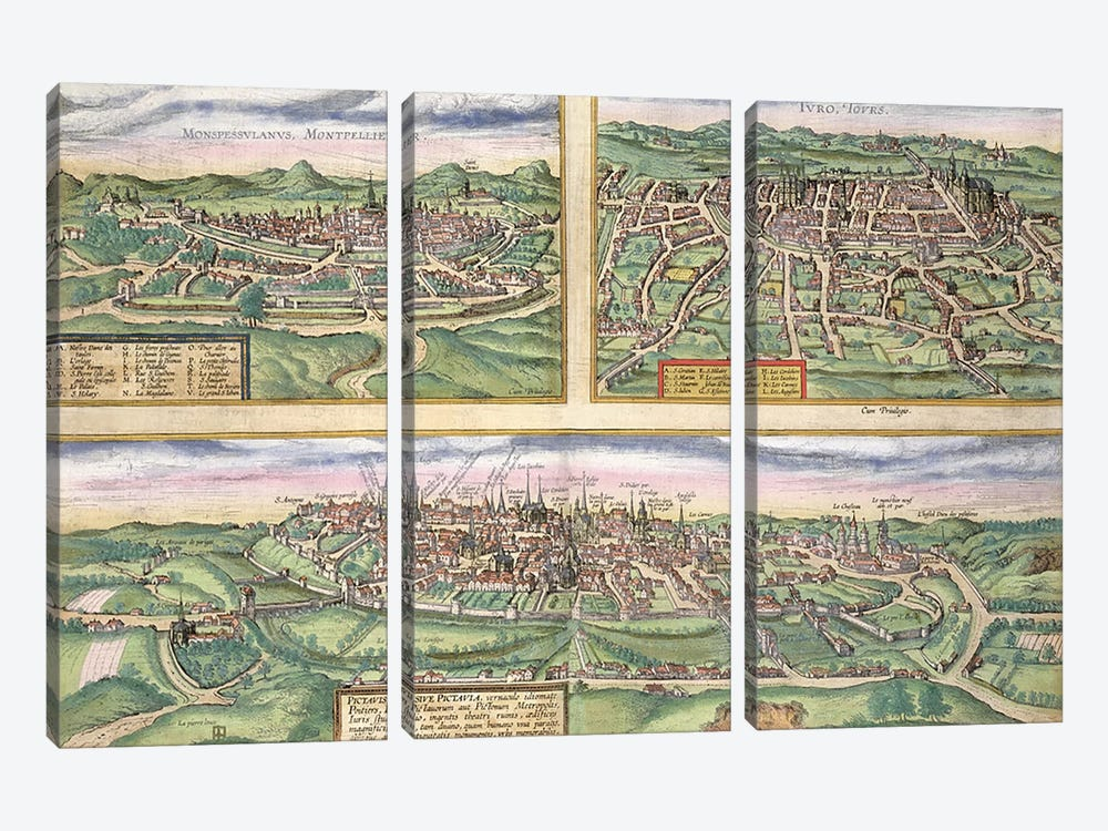 Map of Montpellier, Tours, and Poitiers, from 'Civitates Orbis Terrarum' by Georg Braun by Joris Hoefnagel 3-piece Canvas Print