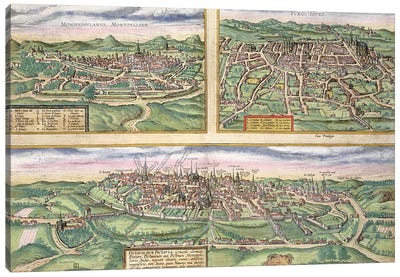 Map of Montpellier, Tours, and Poitiers, from 'Civitates Orbis Terrarum' by Georg Braun  Canvas Art Print