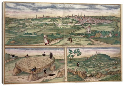 Map of Poitiers, from 'Civitates Orbis Terrarum' by Georg Braun Canvas Art Print