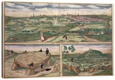 Map of Poitiers, from 'Civitates Orbis Terrarum' by Georg Braun  Canvas Art Print